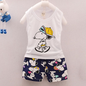 Baby Vest Girls Suit Girl Summer Cute Cartoon White Clothes Printed Shorts Two-Piece 2019 New Female Children Casual Wear 0-3T