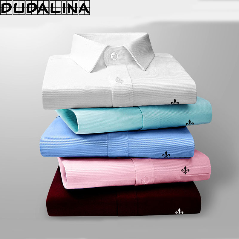 DUDALINA 2017 Men Casual Long Sleeved Pocket High Quality Shirt Slim Fit Male Social Business Dress Shirt Brand Men Clothing