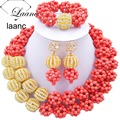 Brand Laanc 18inches Rhinestone Ball Gold Coral Turquoise African Beads Bridal Jewelry Sets For Nigerian Wedding Party AL135