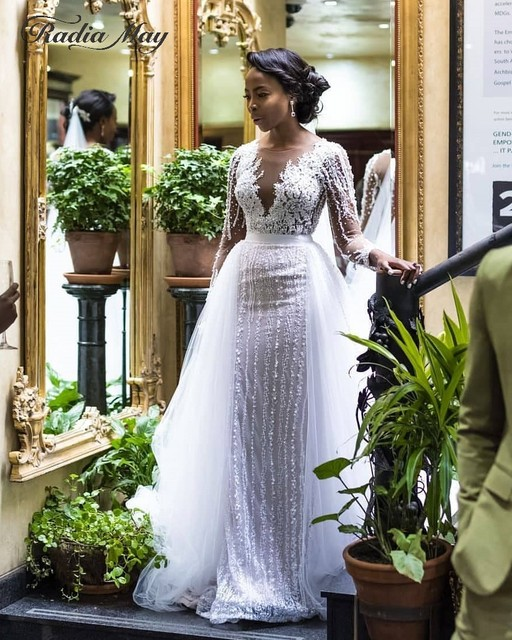 2019 Luxury Beaded Long Sleeves Mermaid African Wedding