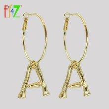 Женские серьги кольца с буквами fj4z сережки Обручи из золотого