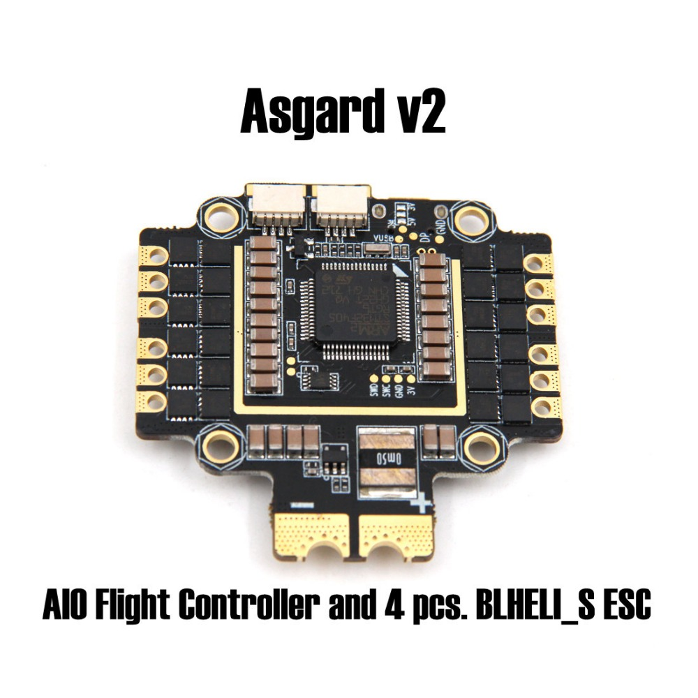 Asgard v2 AIO Flight Controller and 4 pcs. BLHELI_S ESC on one PCB use J_H_15 firmware for FPV Racing drone quadcopter asgard v2 all in one flight controller for helicopters asgard v2
