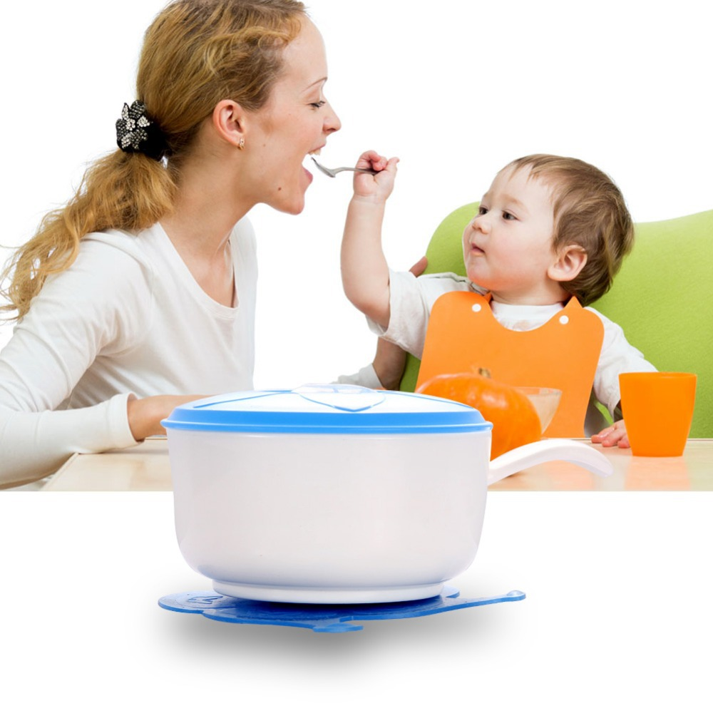 Toddler Baby Kids Feeding Lid Training Bowl with Cover Baby Feeding Tableware Children Plate Sucker Bowl Baby Dinnerware FCI