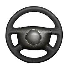 Black PU Artificial Leather Car Steering Wheel Cover for Audi A2 (8Z) A3 (8L) Sprotback A4 (B5 B6) Avant A6 (C5) A8 (D2) S4 4b0919275 pdc parking 4 sensor for a2 8z0 a3 8l1 a4 avant 8d2 b5 a6 avant passat saloon 3b2 3b6 3b3 a8 saloon 4d2 4d8 parktronic