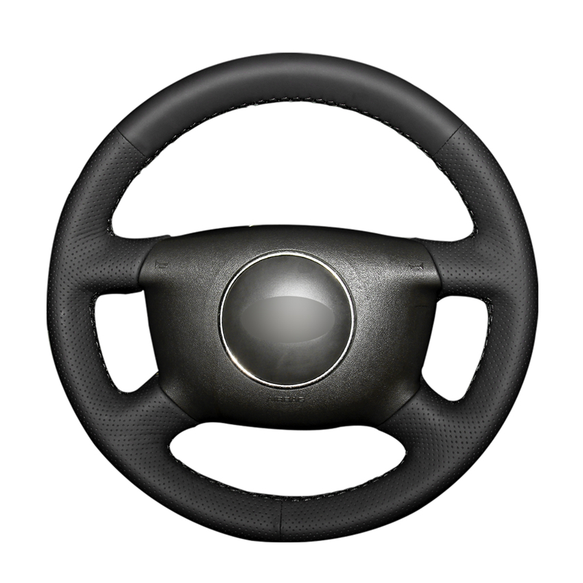 Black PU Artificial Leather Car Steering Wheel Cover for <font><b>Audi</b></font> A2 (8Z) A3 (8L) Sprotback A4 (B5 B6) Avant A6 (C5) <font><b>A8</b></font> (<font><b>D2</b></font>) S4 image