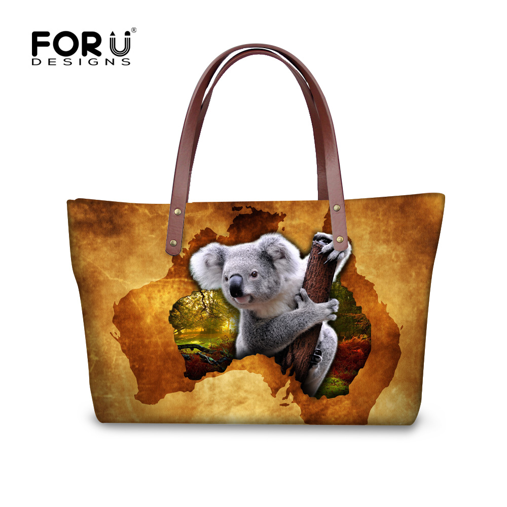FORUDESIGNS Koala Pattern Female Shoulder Bags Female Crossbody Bag Portable Women Messenger Bag Tote Ladies Handbag Bolsas kvky brand fashion soft leather shoulder bags female crossbody bag portable women messenger bag tote ladies handbag bolsas