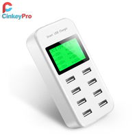 CinkeyPro USB Charger 4 Ports Smart Fast Charging EU Plug Multiple Wall Adapter Mobile Phone Device