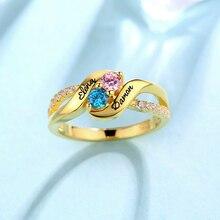 Горячая Распродажа, 925 пробы Серебряные Персонализированные обручальные кольца с камнями для дня рождения, кольцо с гравировкой имени для любимой