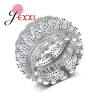 JEXXI Mens Rings 925 Sterling Silver Wedding Engagement Rings Romantic Cubic Zirconia Hollow Out Finger Rings