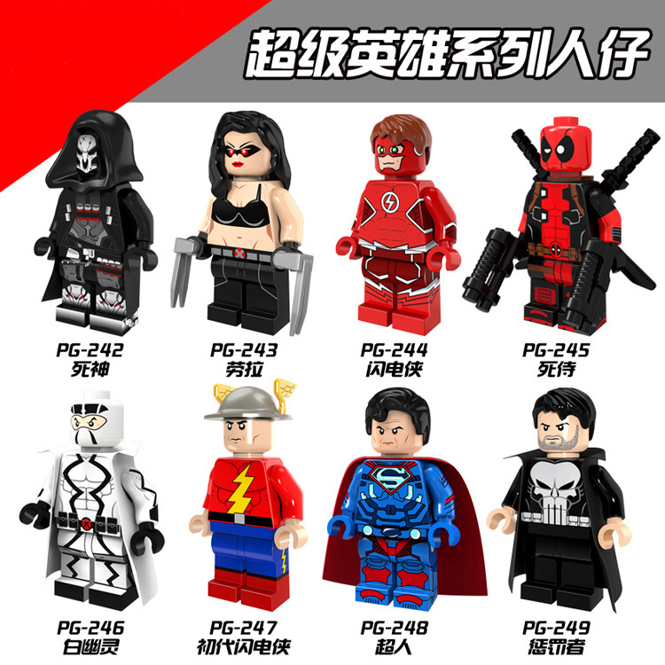 Single Super Hero Theme Flash Man The Death Deadpool Laura Ghost Punisher Building Block Legoing Toys Figures For Kids Gift