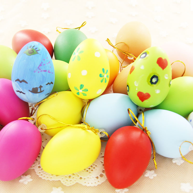 12PCS Children Painting Egg Toy With Rope Plastic Hanging Easter Arts Crafts DIY Toys Graffiti Fun Gadgets Kid Colored eggs shel