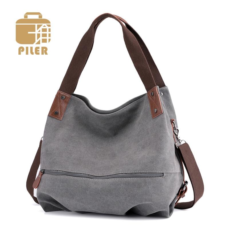 Large Tote Canvas Leather Vintage Bag Women Hobo Shoulder Womans Handbag Fur Bags Cute Ladies