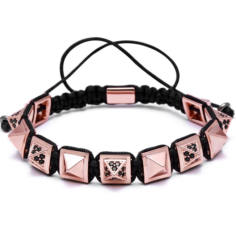 Rose Gold, Black Round Beads 10mm CZ Beads Braiding Macrame Bracelet Pyramid Connector Square Beads Braiding new style bracelets mens 10mm micro pave black cz square beads bracelets