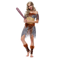New Woman S Polyester Indian Savages Leopard Print Dress Halloween Cosplay Aboriginal Costumes Hot Sale High