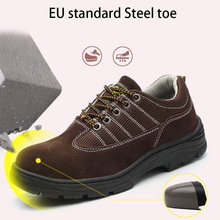 Men's Sneakers Flock Air Mesh Sturdy Sole Safety Shoes Working Shoes Man Lace Up Mixed Colors Rubber Chaussure Homme