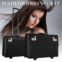 Big Open Hair Toolbox Hairdryer Comb Clip Styling Storage Hairdresser Trolley Box Hair Tools