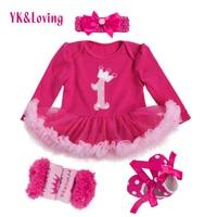 الأميرة الطفل بنات 4 قطع مجموعات كم طويل قطن rromper روز الأحمر الكشكشة توتو اللباس الطفل الملابس vestidos 1 عيد اللباس