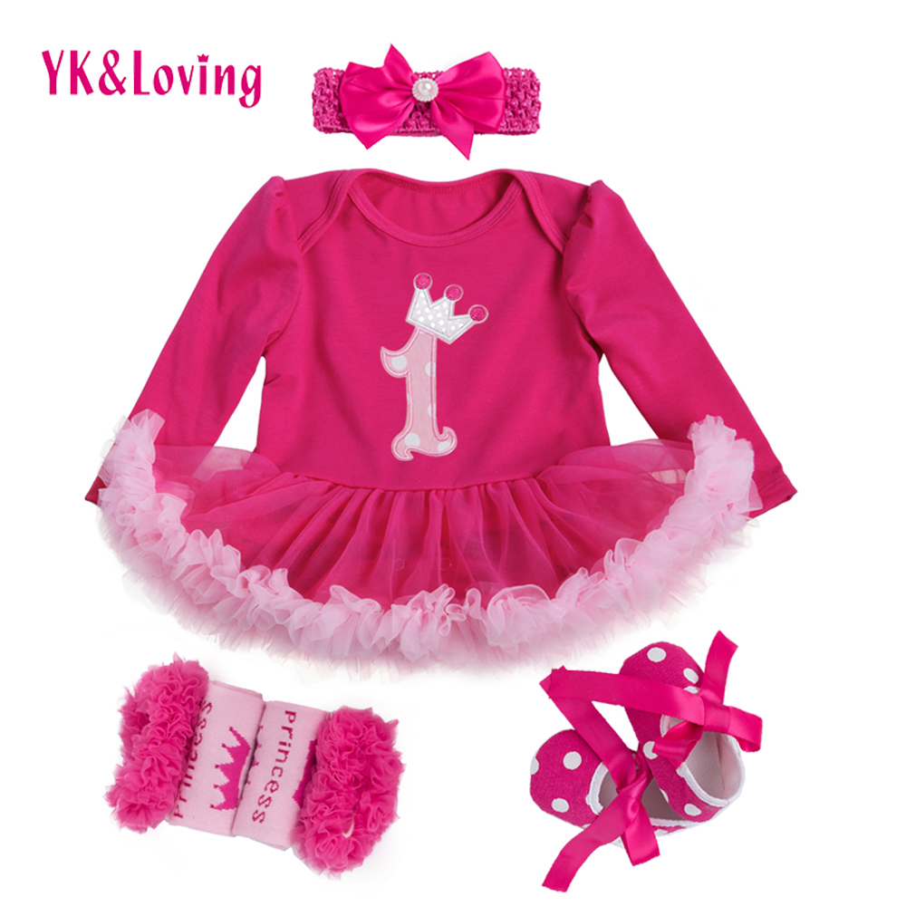 Princess Baby Girls 4pcs Sets Long Sleeve Cotton Rromper Rose Red Ruffle TUTU Dress Baby Clothing Vestidos 1 Birthday Dress frill trim ruffle sleeve surplice wrap dress