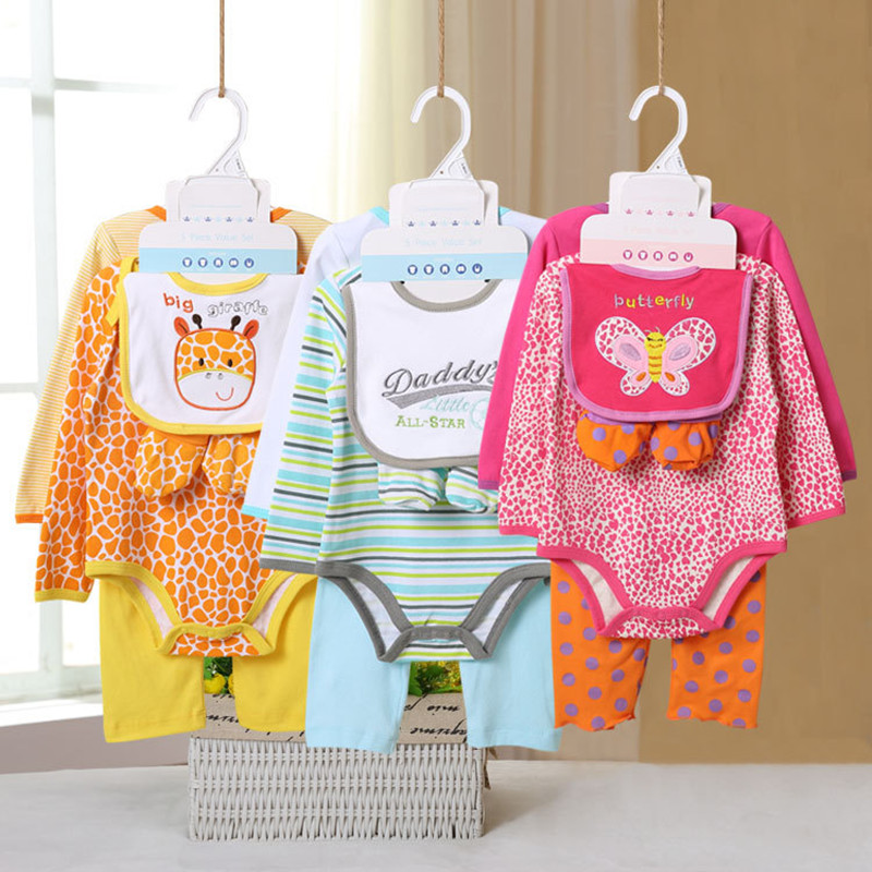 5 Pcs/set Baby Girl Clothes Bebe Bodysuit+Pant+Bib+Shoes 100% Cotton Baby Boy Clothes Newborn Bebe Clothing Sets V40C 2pcs set baby clothes set boy