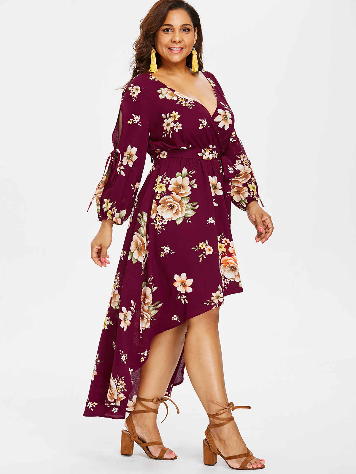 d05b0a5cfff0 ... Wipalo Plus Size Deep V-Neck Slit Sleeve Floral Maxi Dress Back Cut Out  Surplice ...