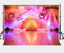 7x5ft Millennial Pink Cartoon Room Backdrop Birthday Cake Candles Photography Background Birthday Party Photo Shooting Props
