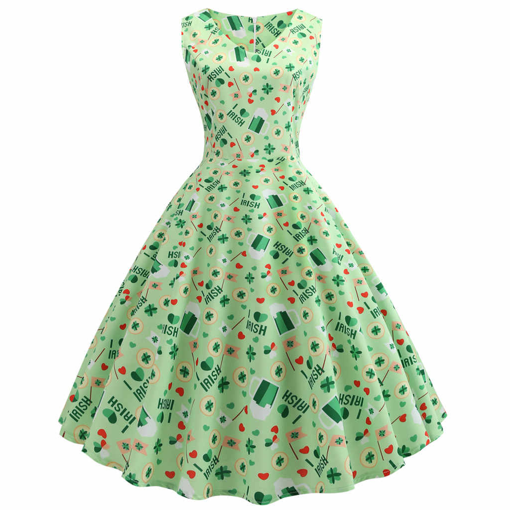 bdc0d361c St. Patrick Day Fashion women dress Women's Clover Sleeveless Evening Print  Party Prom Swing Dress