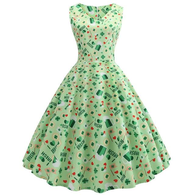 224252717 St. Patrick Day Fashion women dress Women's Clover Sleeveless Evening Print  Party Prom Swing Dress female