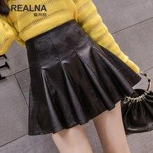 Осенняя черная юбка из искусственной кожи корейские женщины моды Высокая талия Повседневный зонтик юбка женская сексуальная короткая плиссированные мини-юбки Saias