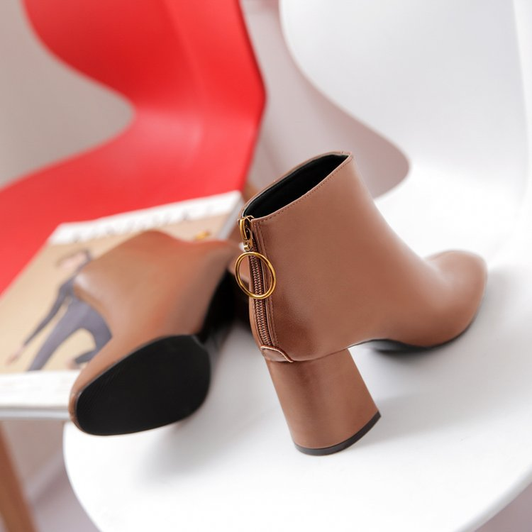 Cuadrado Botas Pu amarillo Zapatos Beige Retro Casuales Dedo Pie Redondo Tamaño Plataforma Mujeres Tacón Zip Plus Chelsea Tobillo Alta Moda De negro Otoño Del YOqzz