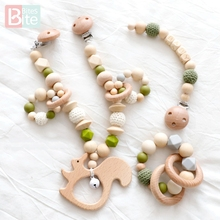 Bite Bites 3pc/set Silicone Baby Teether Animal Deer Cart Bracelet Teething Chain Food Grade Children Goods Silicone Teether цена