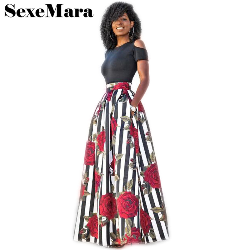 Buy S-5XL Sexy Dress Suit Hot Sale 2 Piece Set Women Summer Suits Plus Size Elegant Floral Print Crop Top and Long Skirt Set D52AE37 for $16.79 in AliExpress store