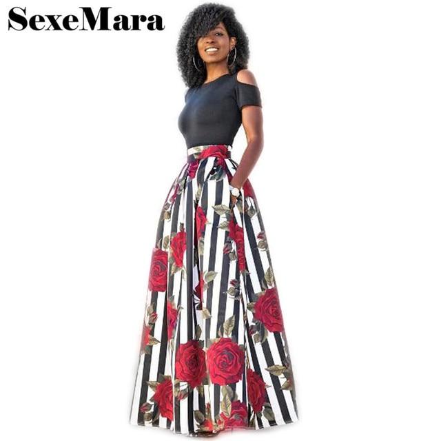 S-5XL Sexy Dress Suit Hot Sale 2 Piece Set Women Summer Suits Plus Size Elegant Floral Print Crop Top Long Skirt Set D52-AH-68