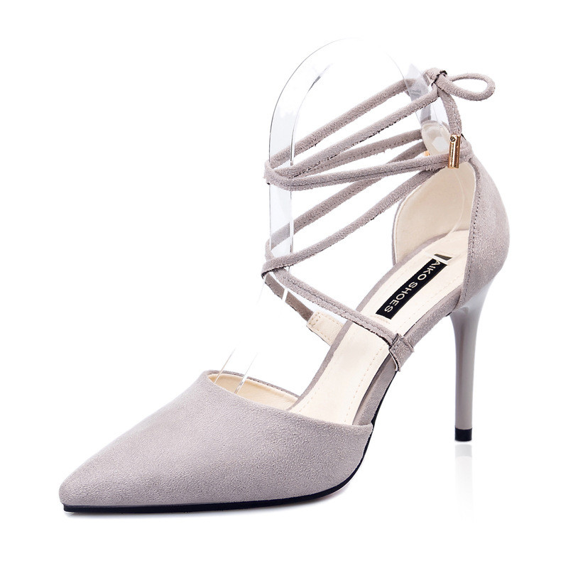 2019 spring and autumn new suede pointed cross straps bow high heels nightclub sexy stiletto shoes gray ljj 05102019 spring and autumn new suede pointed cross straps bow high heels nightclub sexy stiletto shoes gray ljj 0510