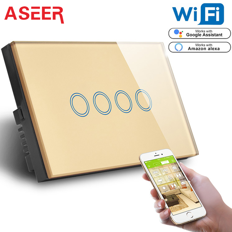 ASEER US Standard 4Gang WIFI 2 4GHz Control Touch Switch Gold Crystal Glass AC 110 240V