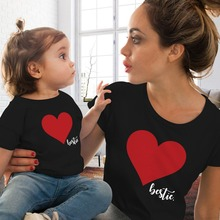 CALOFE Mommy and  Clothes T shirt Family Matching Clothes Summer Love Print T Shirt Mother and Daughter Clothes Family Look