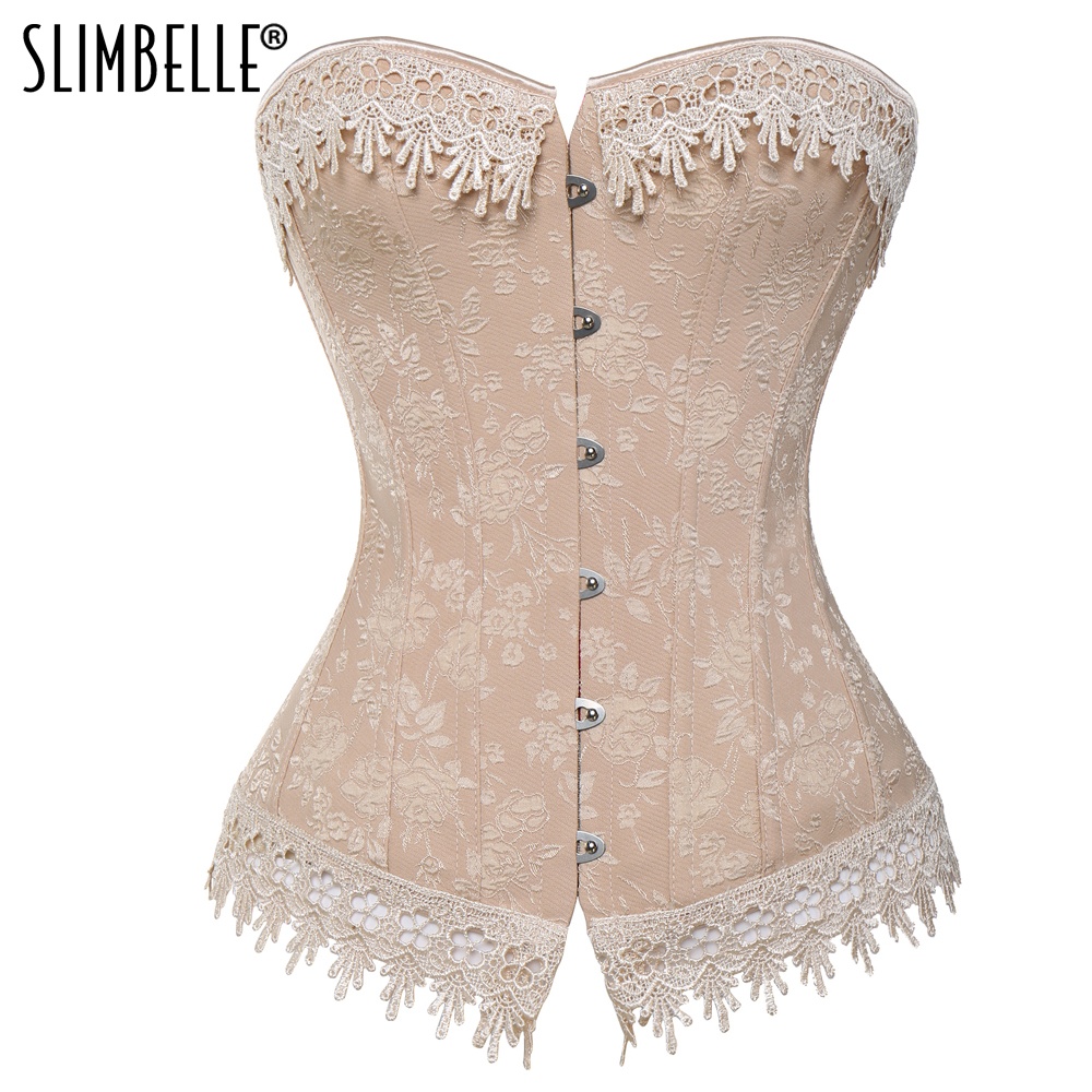 Women Steampunk Gothic Nude Floral Waist Trainer Overbust   Corset   Lace up Sexy Lingerie Plus Size Shapewear   Corsets   and   Bustiers
