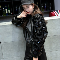 3D Flower Sequins Bomber Faux Leather Beading Zipper Motorcycle jacket Loose PU Stitching Baseball Coat Beading Cardigan Tops