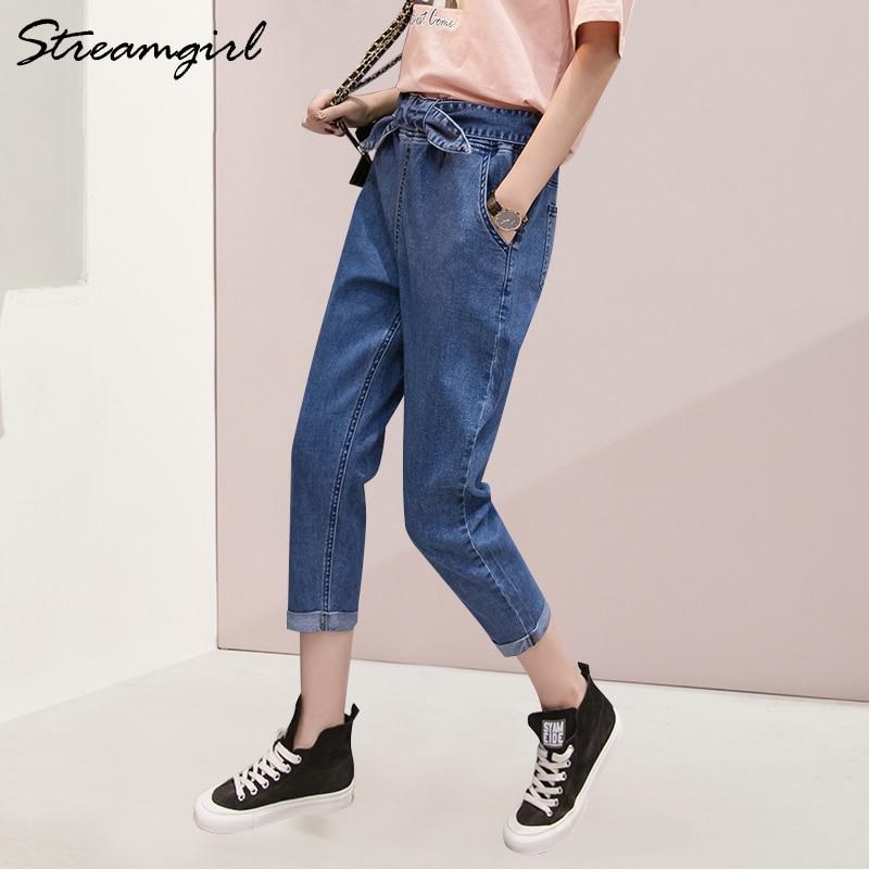 Black Harem   Jeans   Women Capris Ladies Denim Pants Summer Plus Size Capri   Jeans   Women Loose   Jean   Pants Capris With High Waist