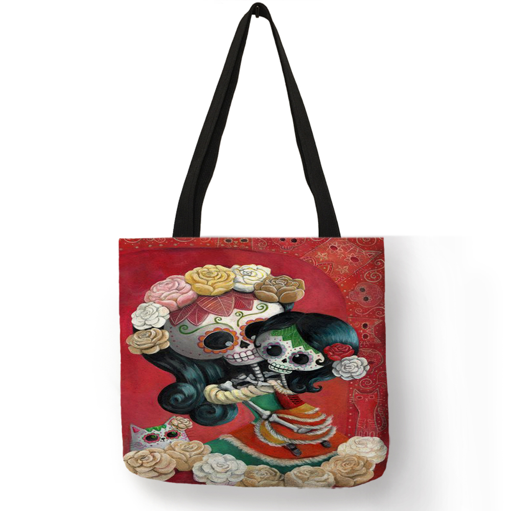 Customized Halloween Candy Floral Skull Girl Print Tote Bag For Women Casual Handbags Linen Shopping Traveling School Bags tote bag