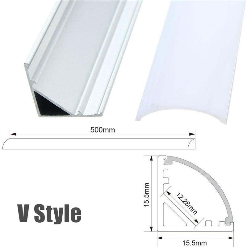 HTB17bIhXfjsK1Rjy1Xaq6zispXaQ 30/50cm LED Bar Lights Aluminum Channel Holder Milk Cover End Up Lighting Accessories U/V/YW-Style Shaped For LED Strip Light