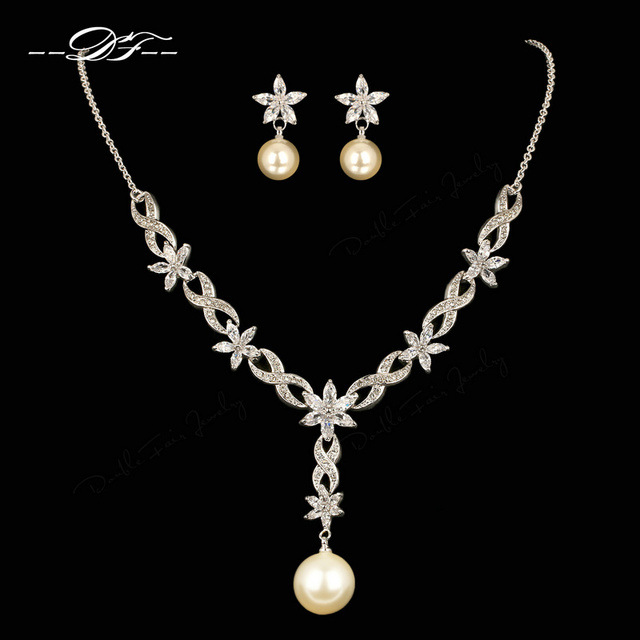Vintage Wedding Necklaces Pendants Earrings Sets Silver Color Simulated Pearl Beads Jewelry Set For Women