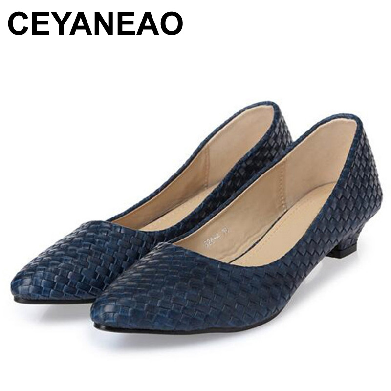CEYANEAONew Fashion Office Lady Low Heels Shoes Woman Single Pumps Women Autumn Spring Work Shoes Pointed Toe35-41blackblueE2019