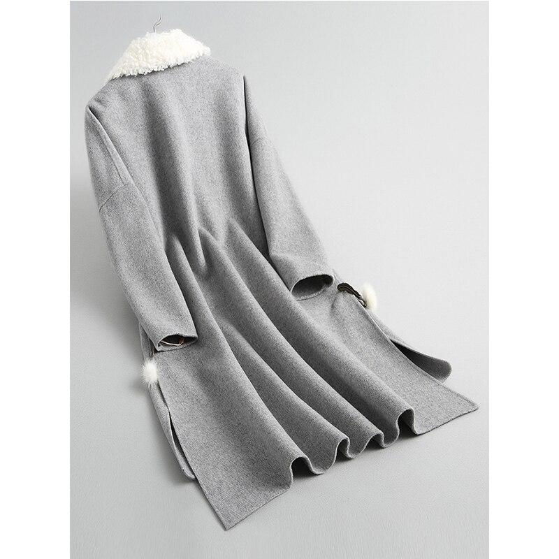 koreanische Double Damen Frau M Zt954 aus Winter Pelzmantel 2018 Herbst ntel echtem 100Wolle Side grau Kleidung Jacke N8kwnOPX0