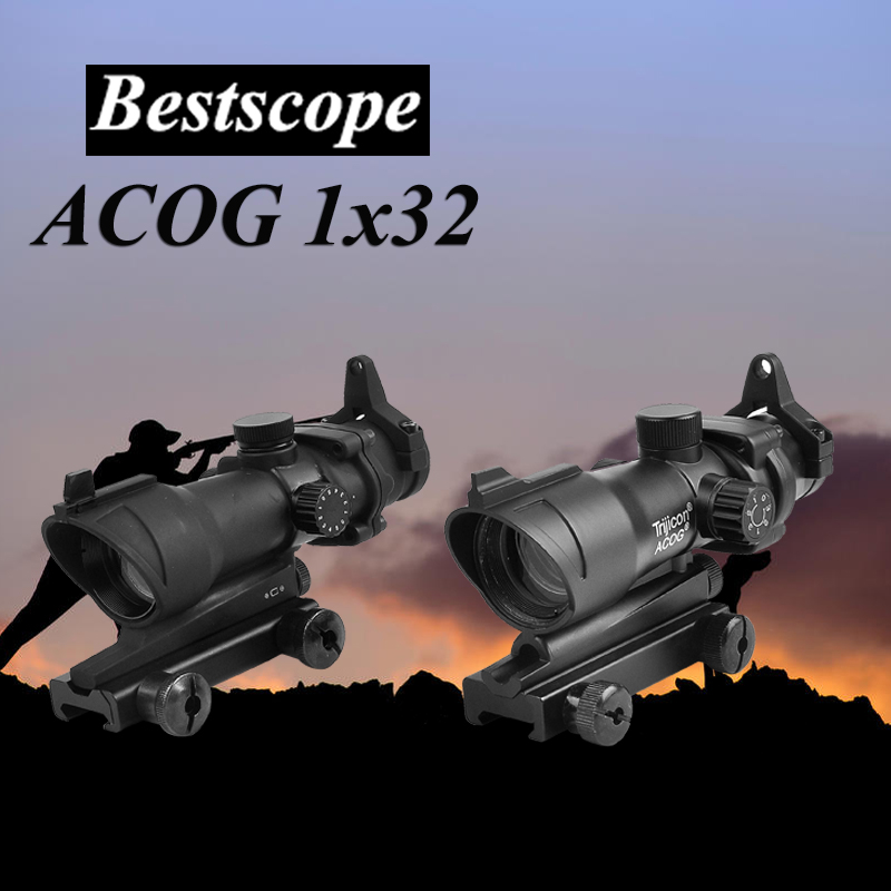 Trijicon ACOG 1X32 Red Dot Sight Optical Rifle Scopes ACOG Red Dot Scope Hunting Scopes With 20mm Rail for Airsoft Gun