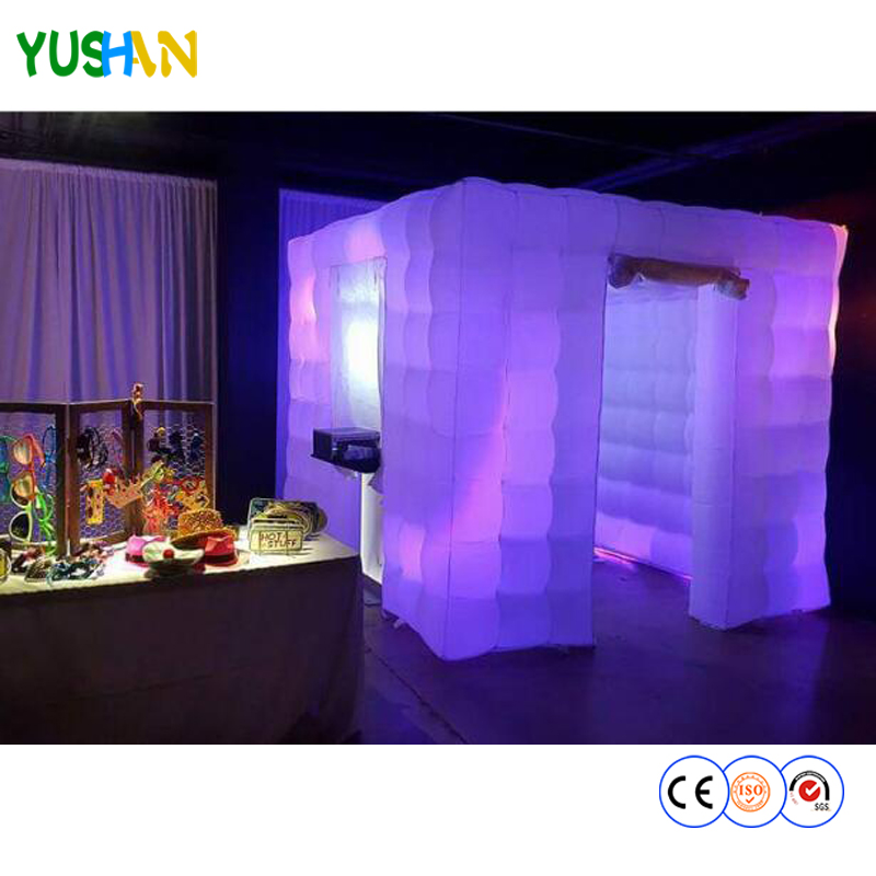 2.7m large size portable inflatable photo booth tent 16 colors lighting wedding photo booth Customized Logo Photo booth hot sale