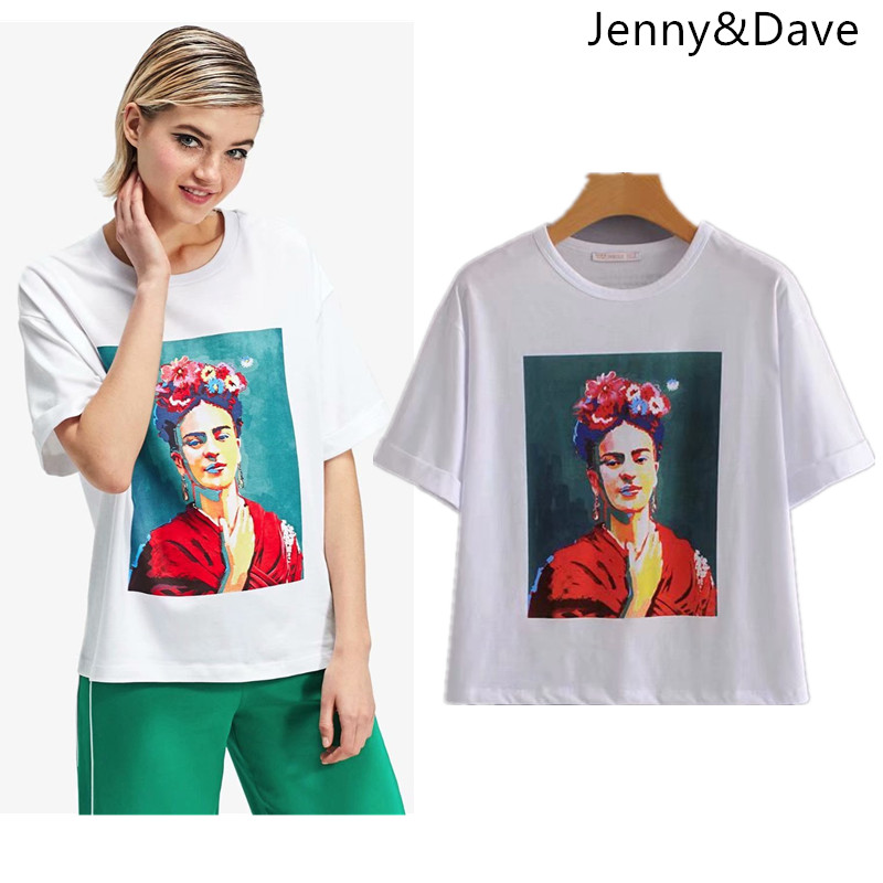 Jenny&Dave BTS t shirt england style print none Oil Painting character o-neck regular women tshirt tops plus size summer 2018