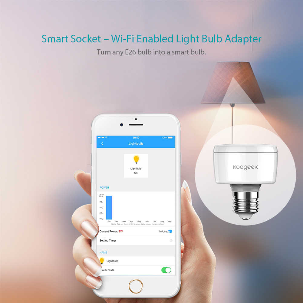 Koogeek E26 E27 Wifi Smart Socket Light Bulb Adapter Smart Lamp Siri Smart Remote Voice Control for Apple HomeKit[ Only for IOS]