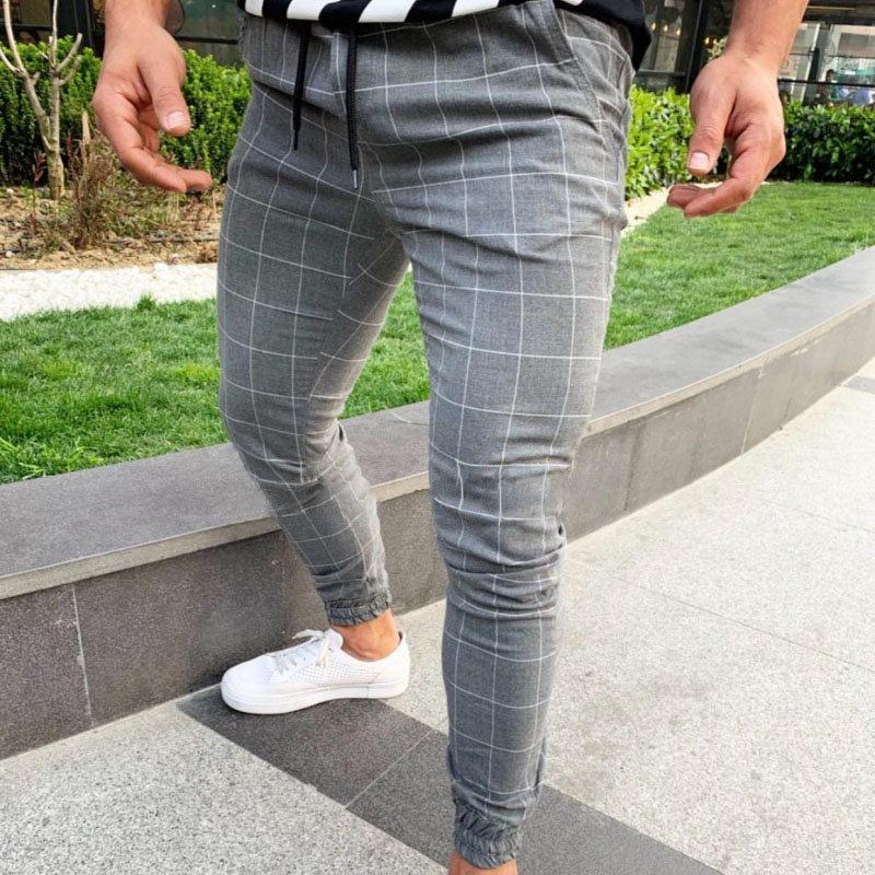 Men Casual Skinny Jogging Joggers Slim Fit Tracksuit Sport Sweat Plaid Pants Trousers XRQ88