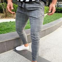 Men Casual Skinny Jogging Joggers Slim Fit Tracksuit Sport Sweat Plaid Pants Trousers XRQ88 casual slim fit zip fly long plaid pants for men