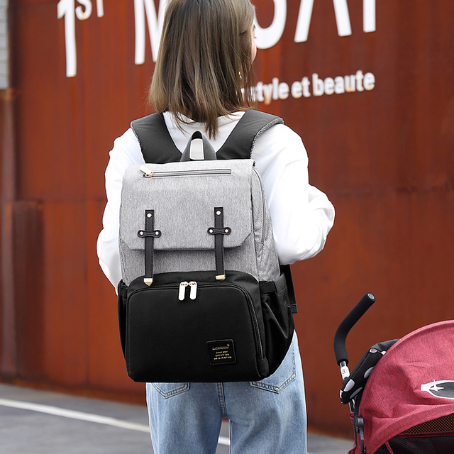 New Fashion With USB Mummy Daddy Diaper Bag Pure Large Waterproof Nursing Bag Travel Backpack Stroller Baby Care Nappy Bag 5
